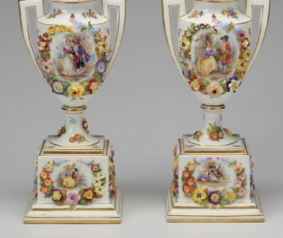 "(2) 19th c. Dresden lidded urns, marked, 19""h - 3"