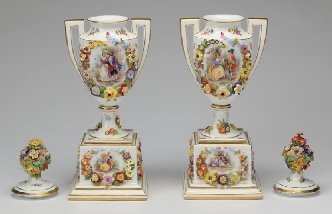"(2) 19th c. Dresden lidded urns, marked, 19""h - 4"