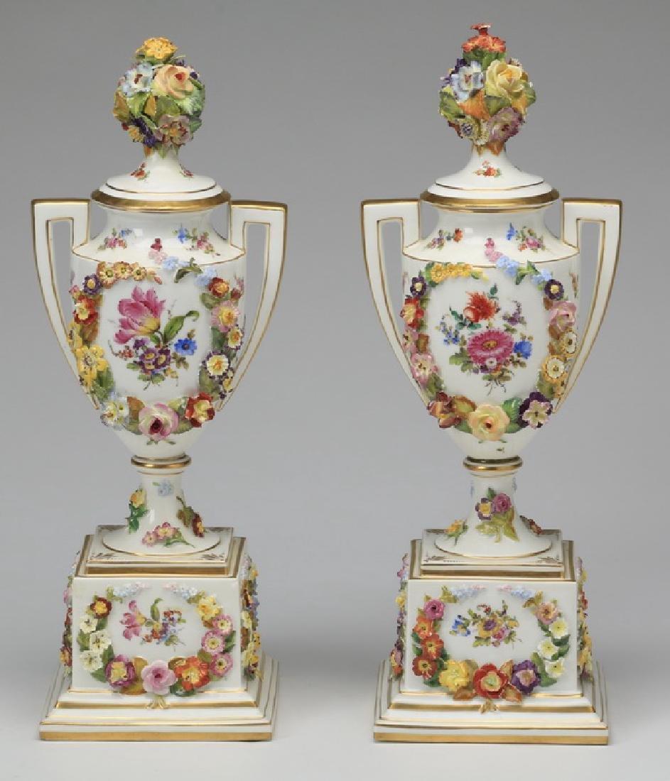 "(2) 19th c. Dresden lidded urns, marked, 19""h - 5"