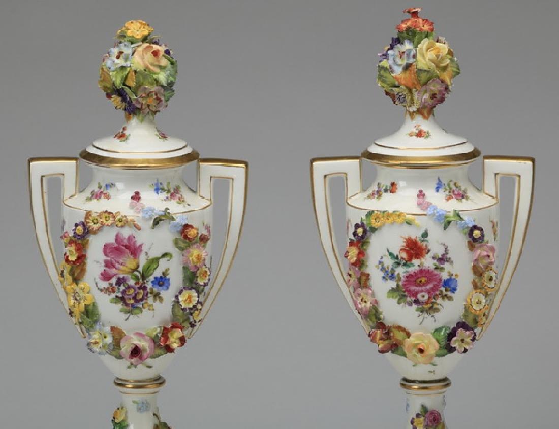 "(2) 19th c. Dresden lidded urns, marked, 19""h - 6"