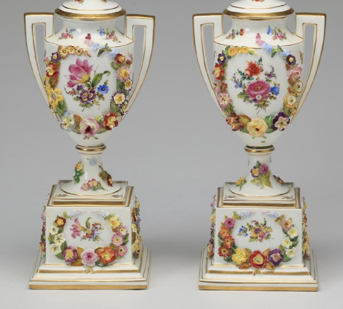 "(2) 19th c. Dresden lidded urns, marked, 19""h - 7"