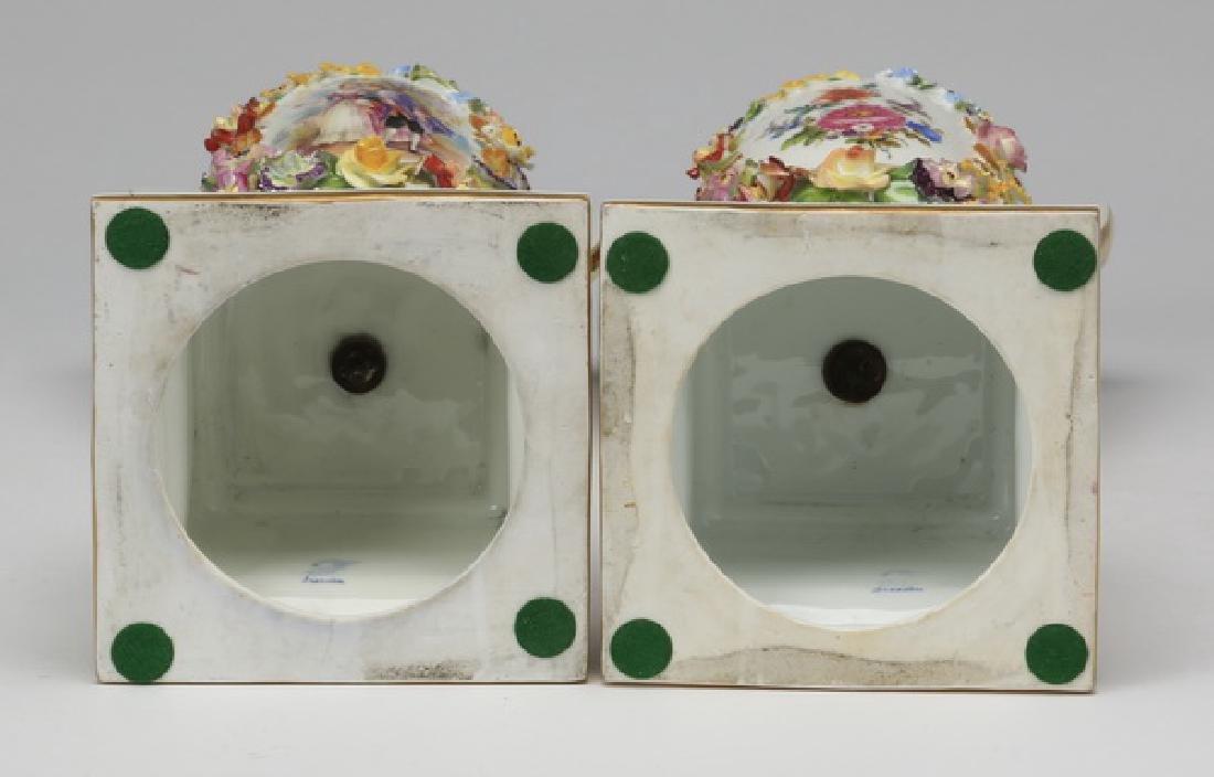 "(2) 19th c. Dresden lidded urns, marked, 19""h - 8"