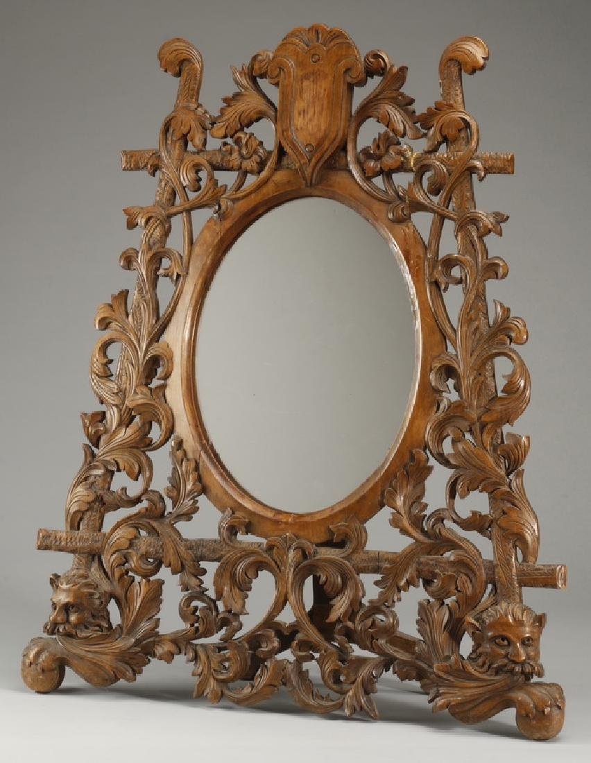 "19th c. French carved walnut vanity mirror, 34""h"