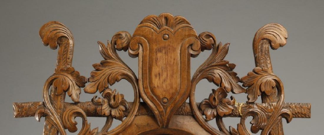 "19th c. French carved walnut vanity mirror, 34""h - 2"