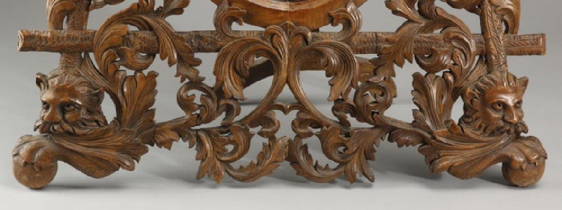 "19th c. French carved walnut vanity mirror, 34""h - 3"