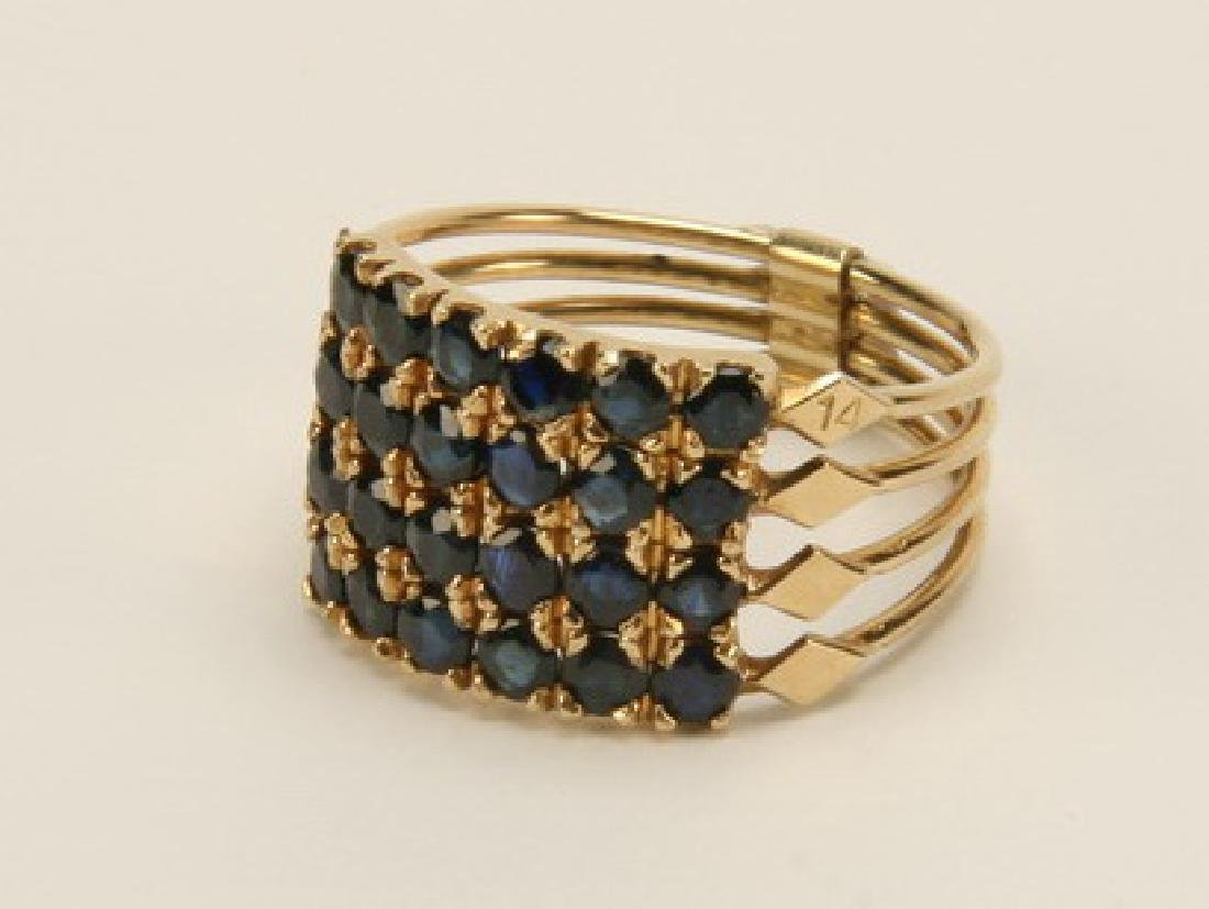 Sapphire and 18k gold stack ring, size 9.25
