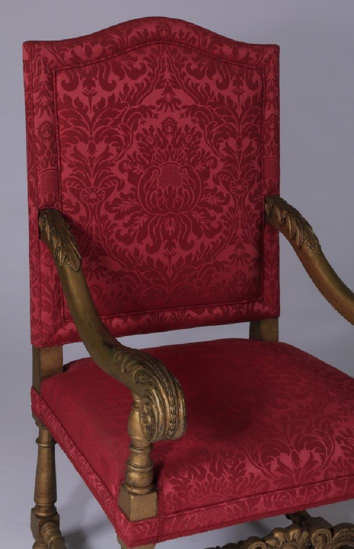 (2) 19th c. French carved armchairs in damask - 4
