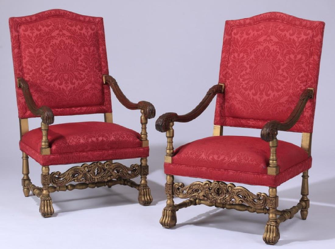 (2) 19th c. French carved armchairs in damask