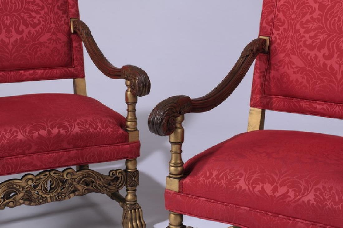 (2) 19th c. French carved armchairs in damask - 3