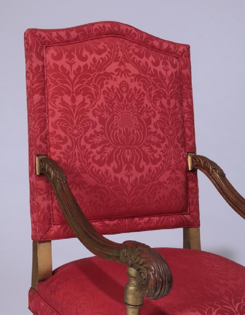 (2) 19th c. French carved armchairs in damask - 5