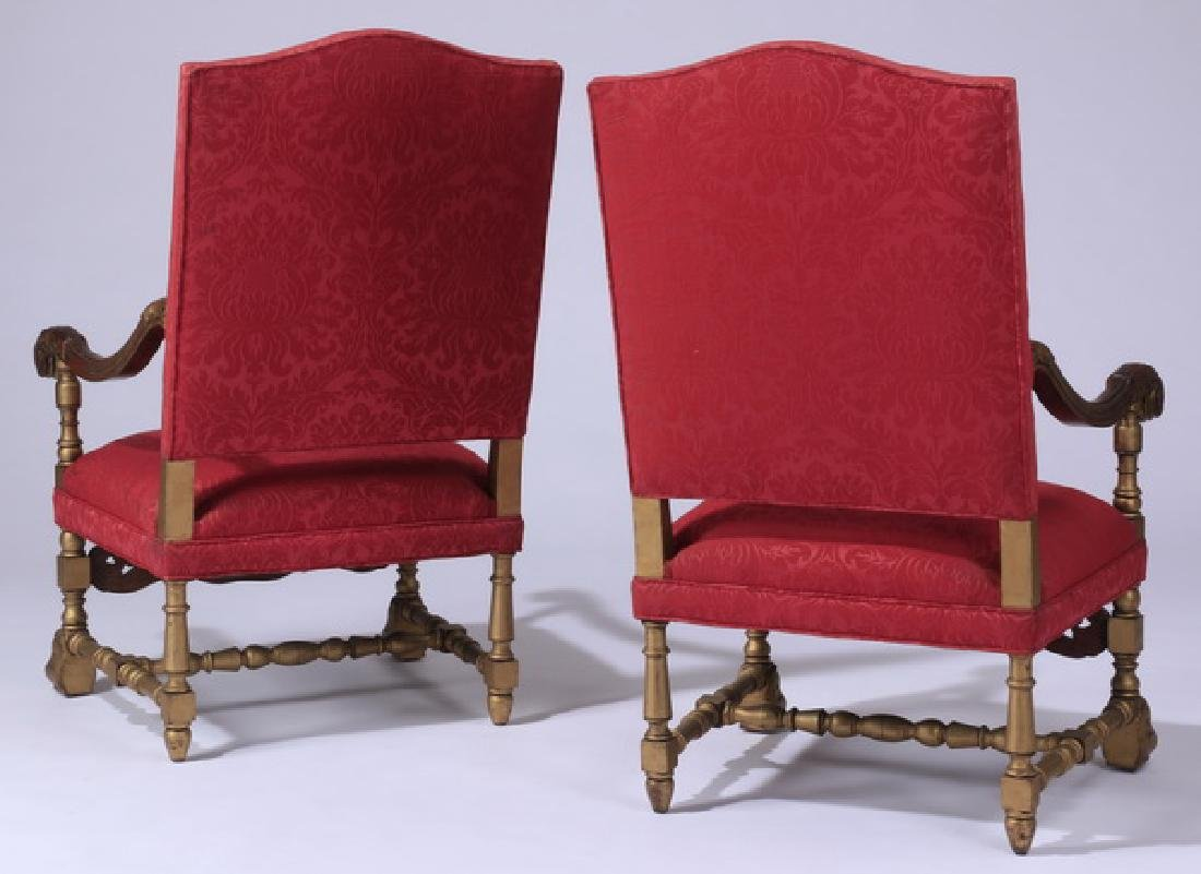 (2) 19th c. French carved armchairs in damask - 6