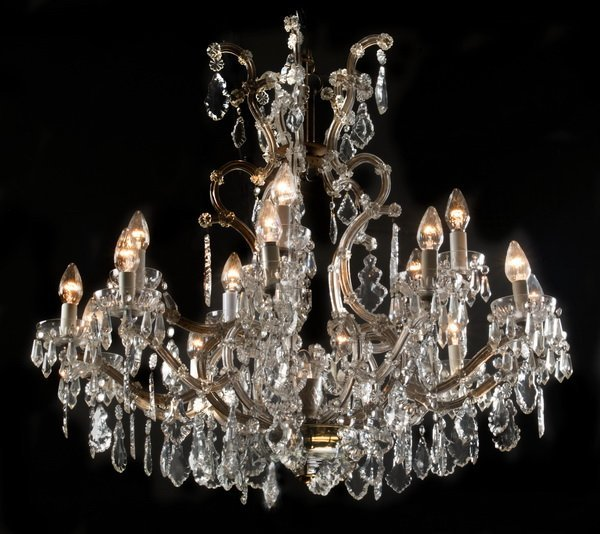 "Marie-Therese style 15-arm crystal chandelier, 36""h"