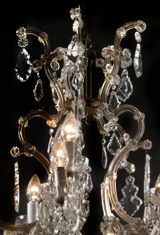 "Marie-Therese style 15-arm crystal chandelier, 36""h - 5"
