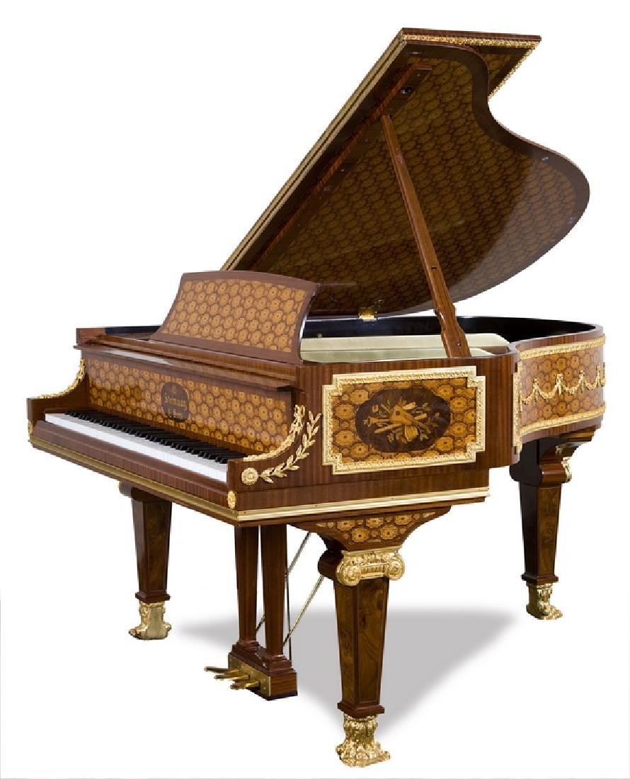 Steinway & Sons marquetry inlaid grand piano