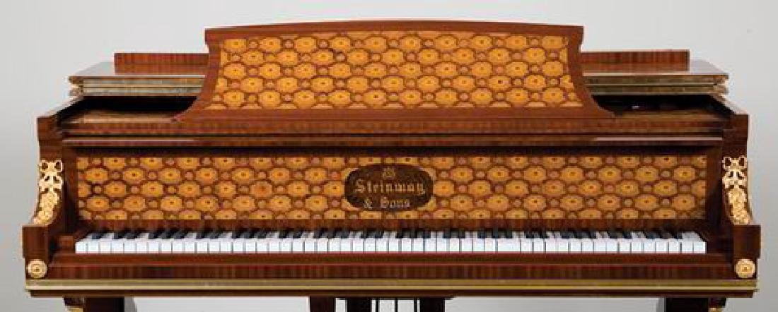 Steinway & Sons marquetry inlaid grand piano - 4