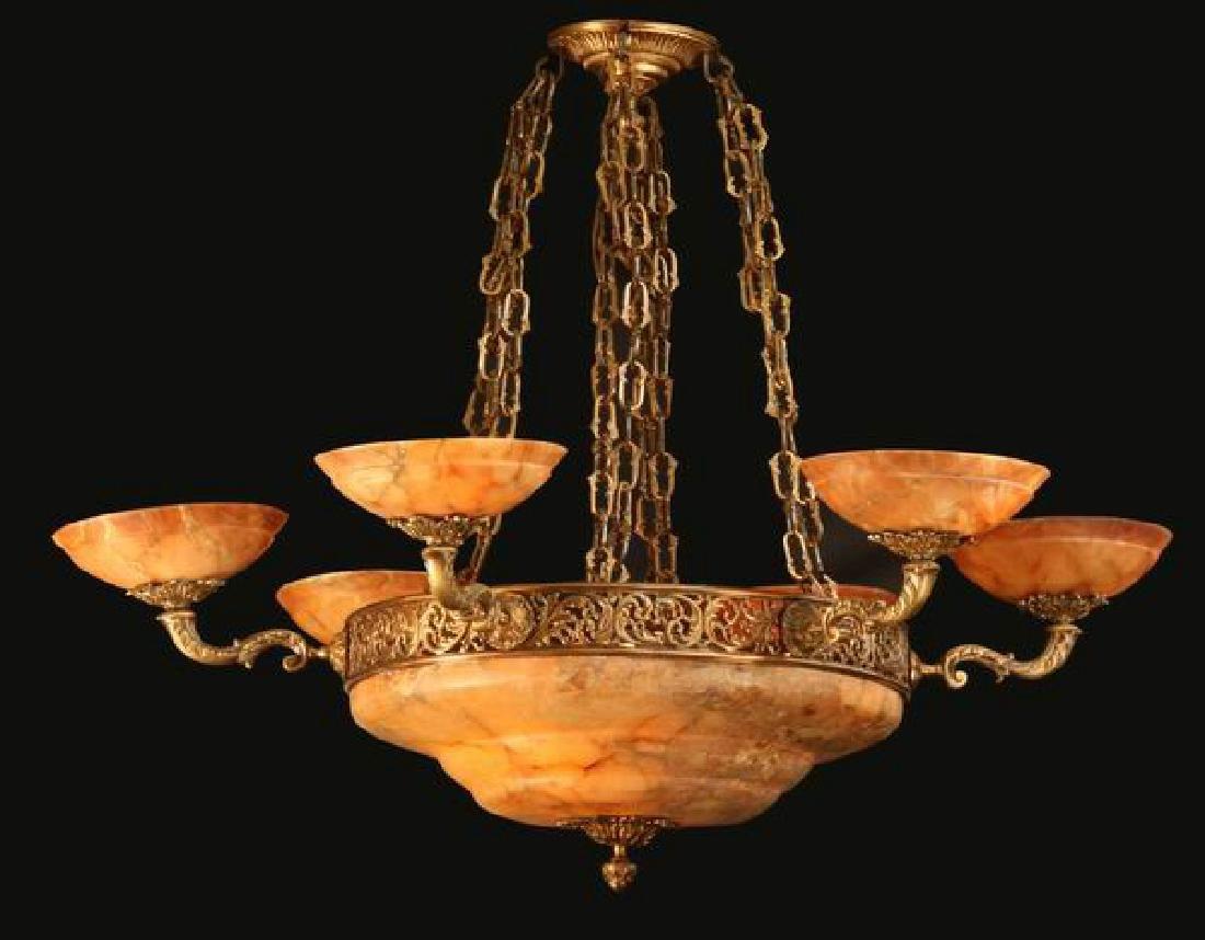 "Neoclassical style bronze, alabaster chandelier, 64""w"