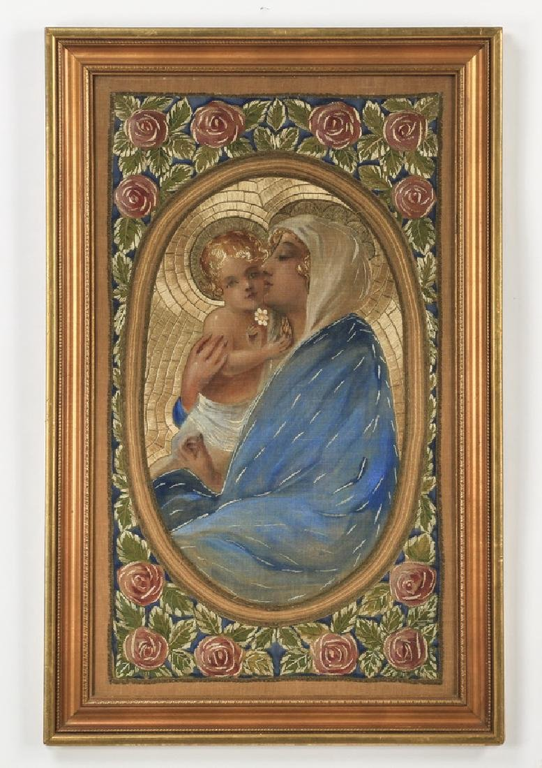 """Embroidery of the Madonna & Child, 38""""h"""