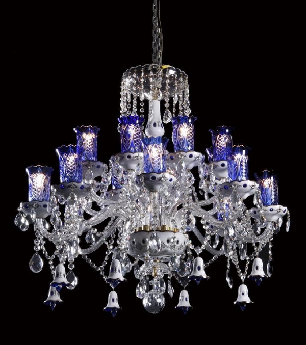Bohemian cobalt blue and white 16-light chandelier