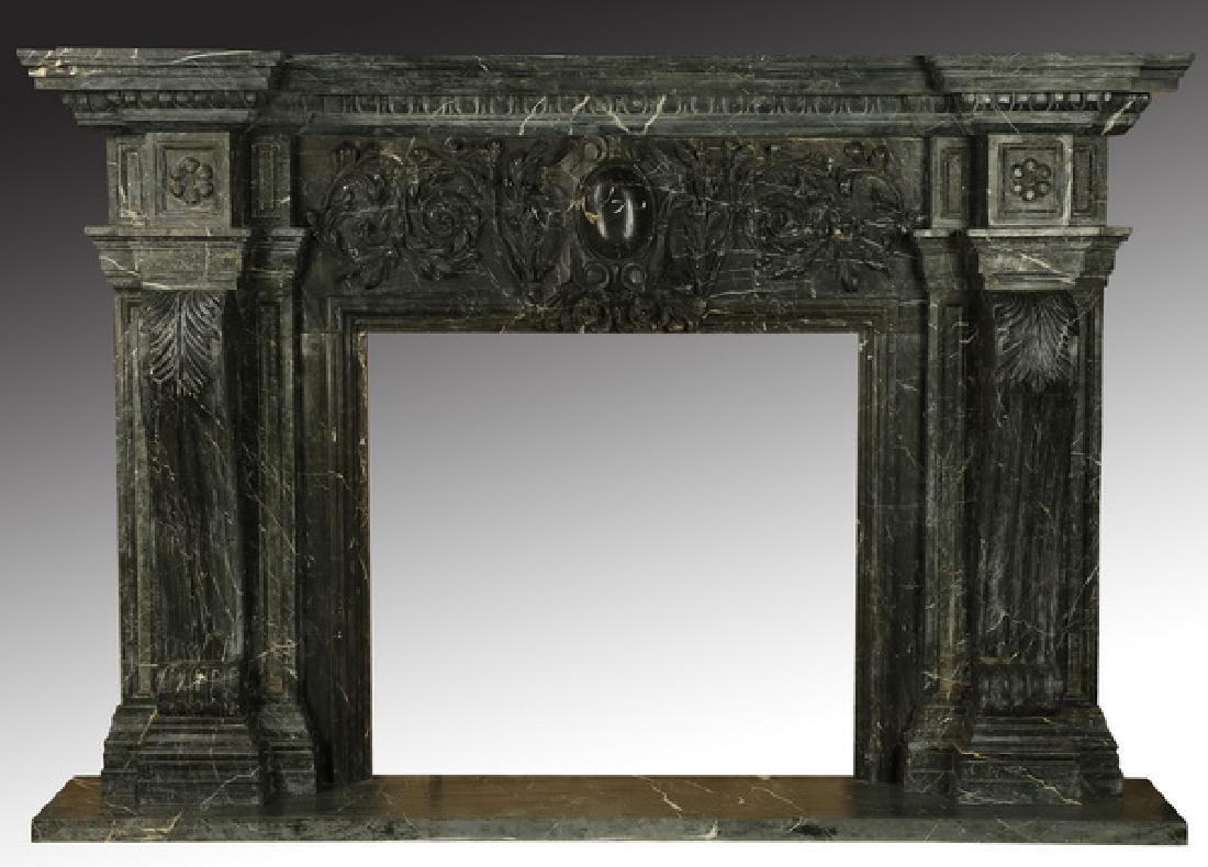 "Carved black marble fireplace mantel, 97""w. - 2"