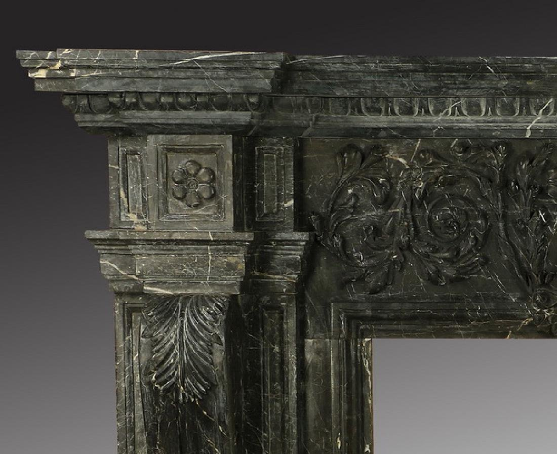 "Carved black marble fireplace mantel, 97""w. - 3"