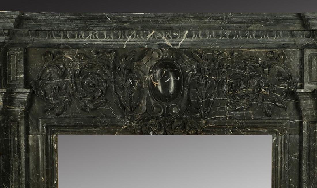 "Carved black marble fireplace mantel, 97""w. - 4"