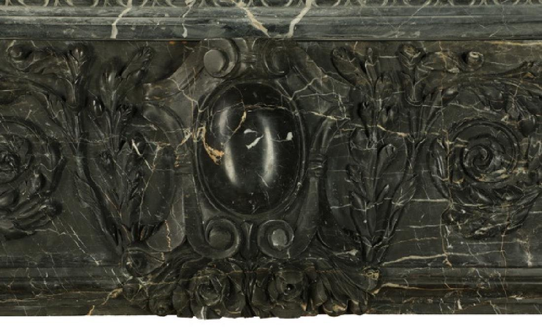 "Carved black marble fireplace mantel, 97""w. - 5"