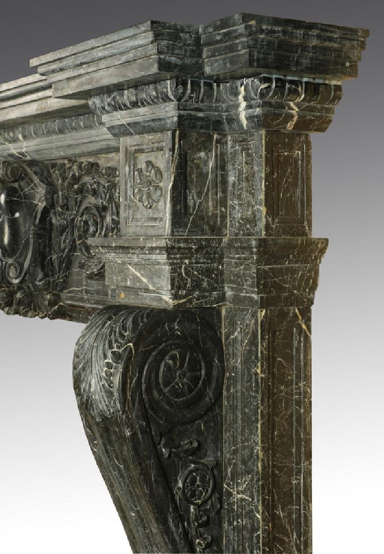 "Carved black marble fireplace mantel, 97""w. - 6"
