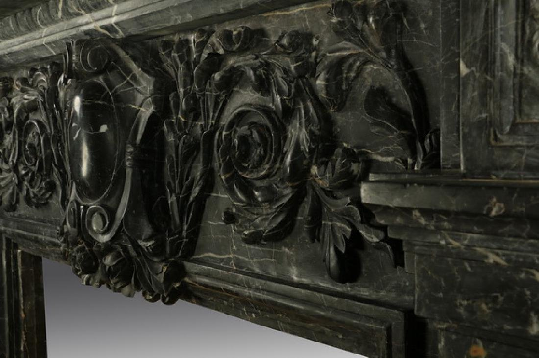 "Carved black marble fireplace mantel, 97""w. - 7"