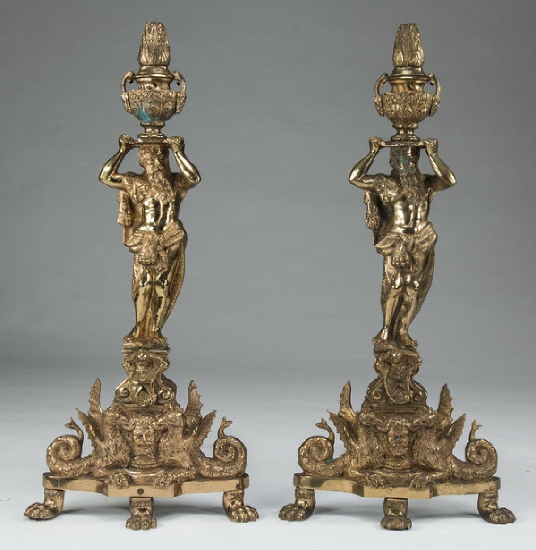 "(2) Monumental gilt bronze figural andirons, 42""h"