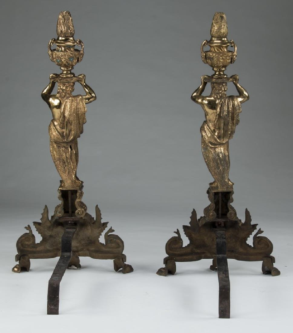 "(2) Monumental gilt bronze figural andirons, 42""h - 2"