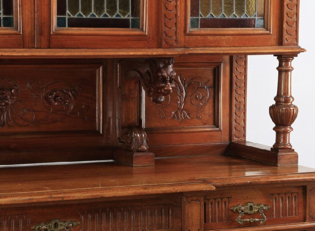 "19th c. French carved walnut buffet, 108""h - 4"