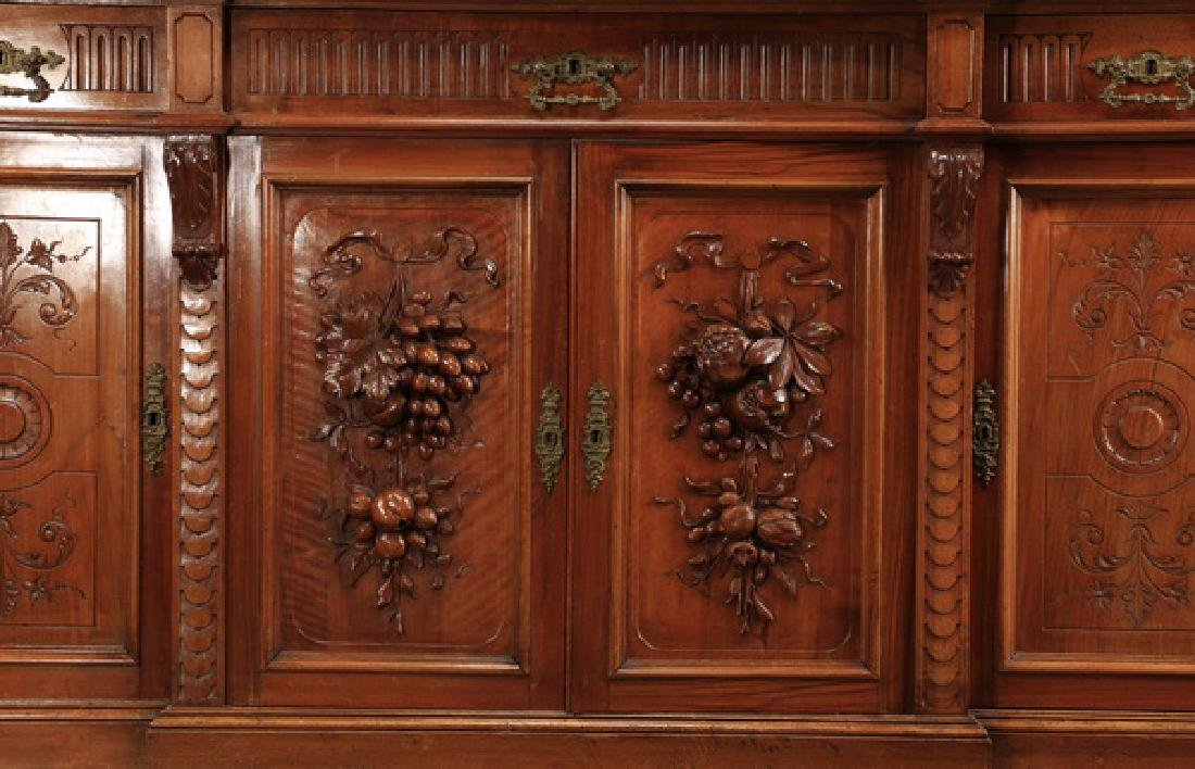 "19th c. French carved walnut buffet, 108""h - 5"