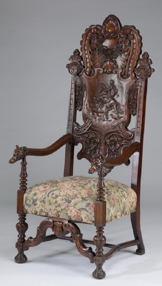 "19th c. carved hall chair with hunt scene, 62""h"