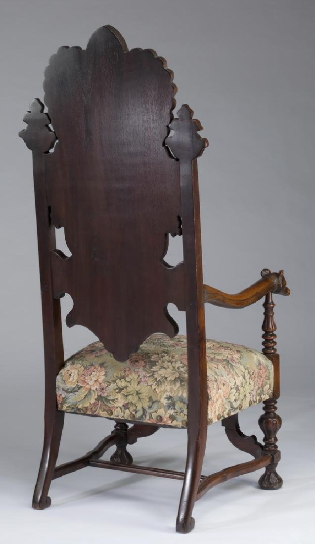 "19th c. carved hall chair with hunt scene, 62""h - 3"