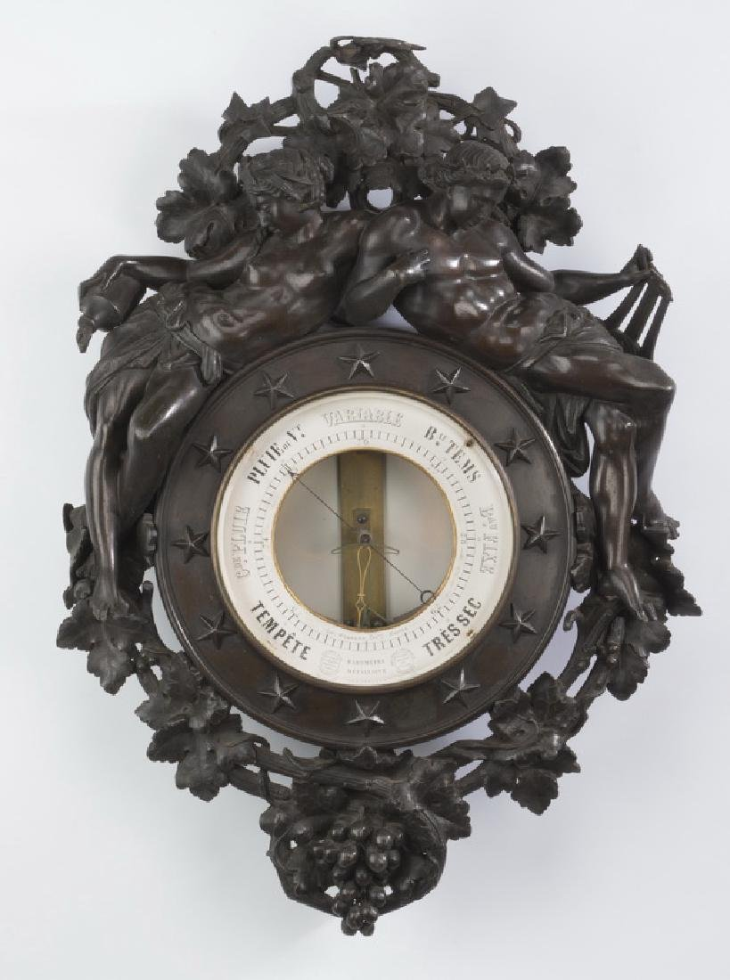 "Napolean III figural bronze barometer, 19th c., 23""h"