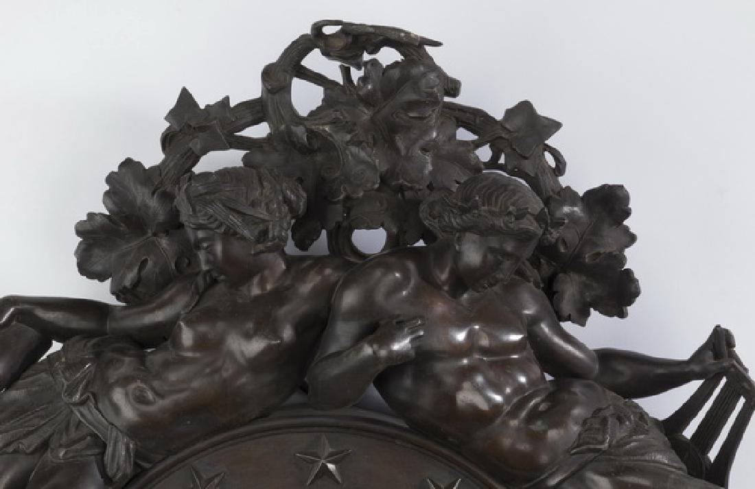 "Napolean III figural bronze barometer, 19th c., 23""h - 2"