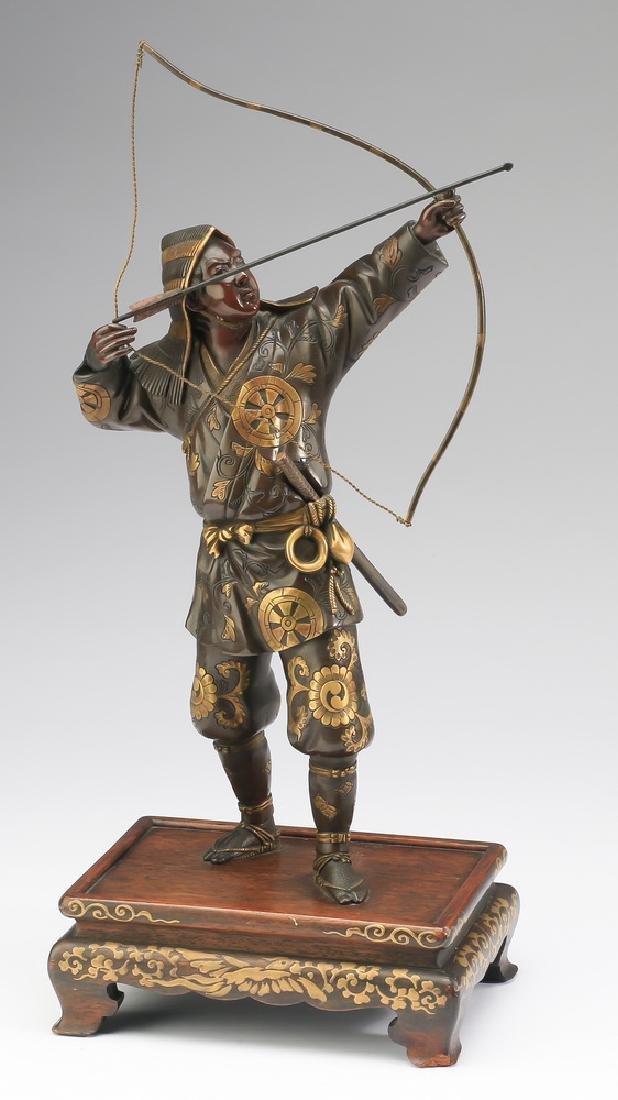 Meiji period Japanese bronze archer, signed Miyao
