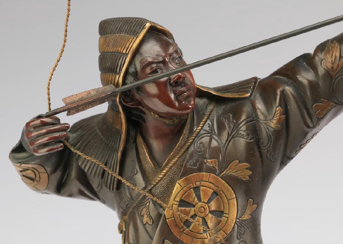 Meiji period Japanese bronze archer, signed Miyao - 2