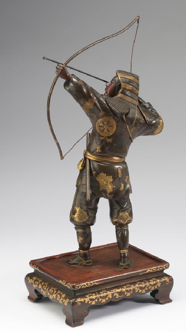 Meiji period Japanese bronze archer, signed Miyao - 3