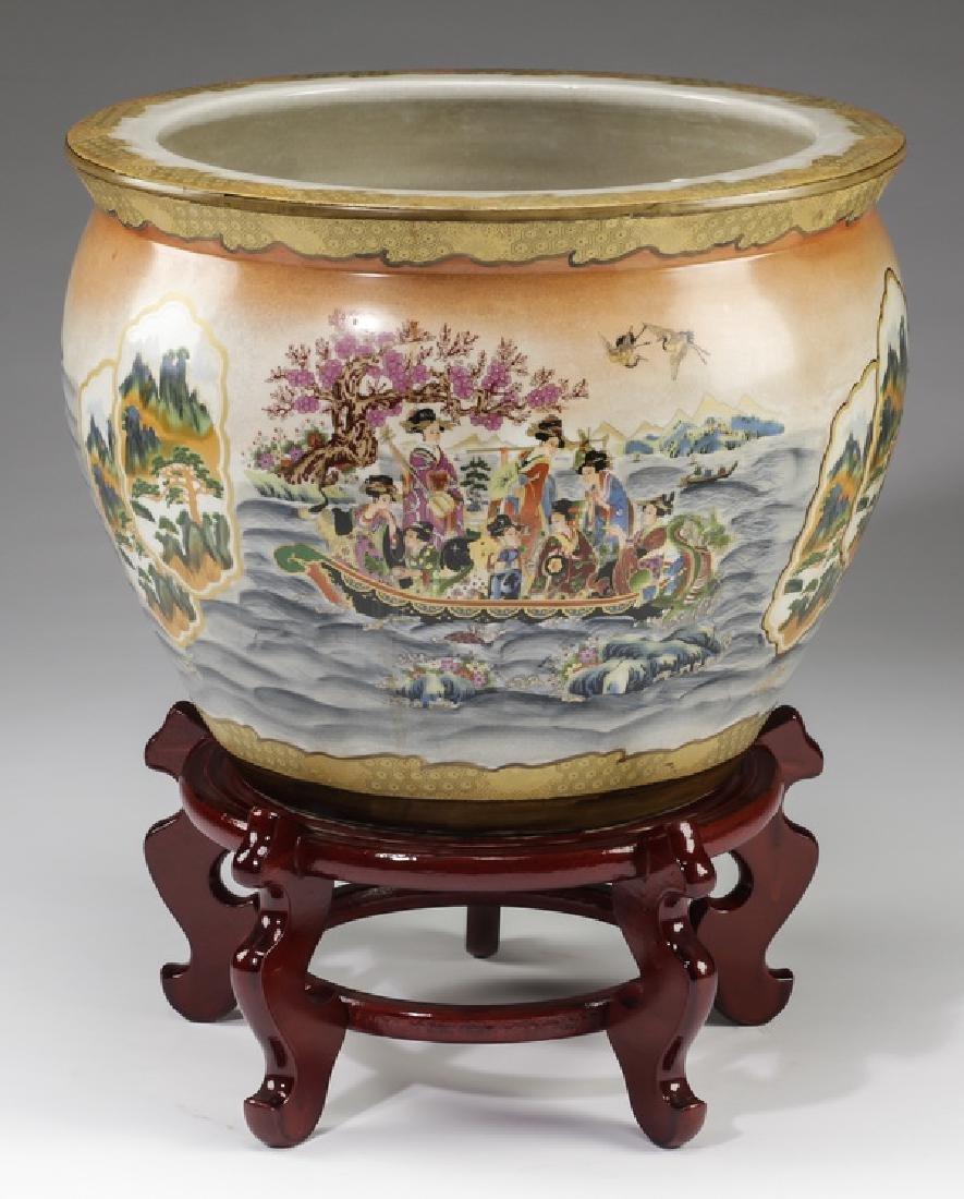 Chinese ceramic fishbowl with stand