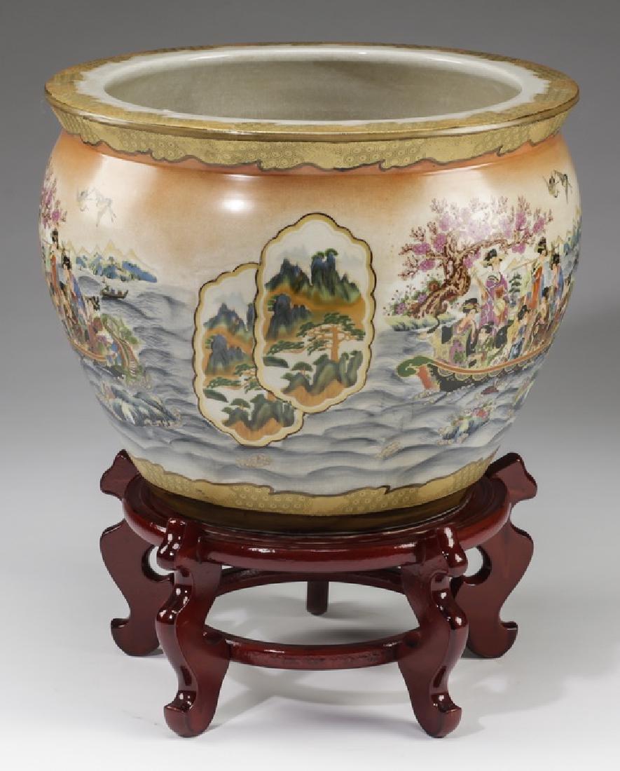 Chinese ceramic fishbowl with stand - 2