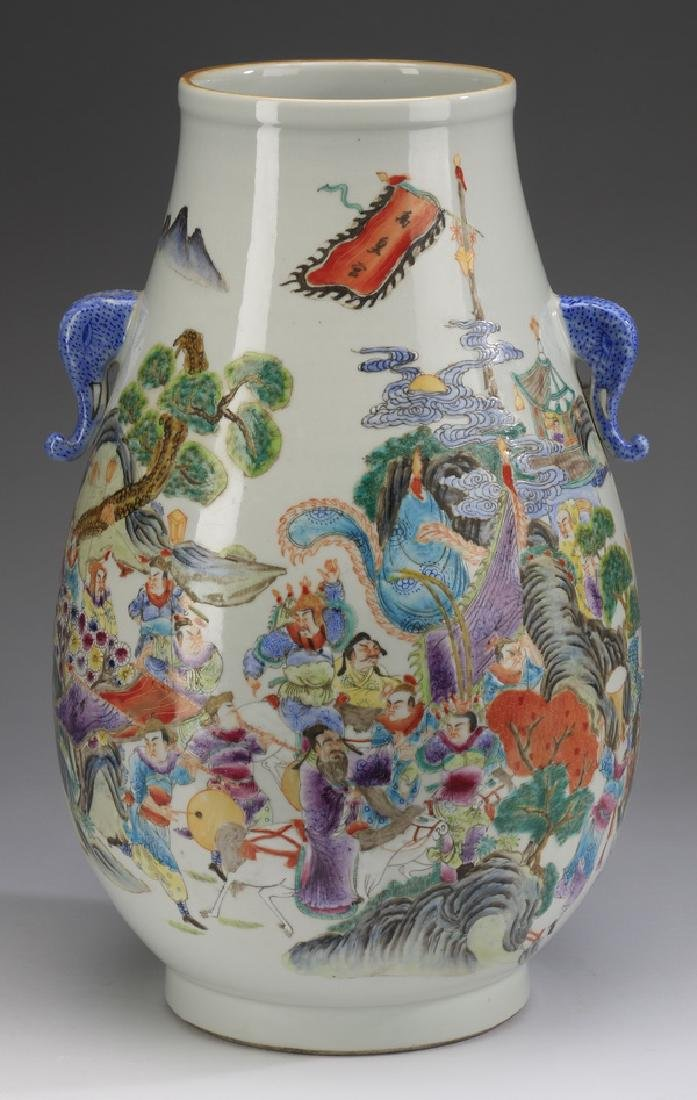 """Chinese Hu vase, with court procession, 17""""h"""