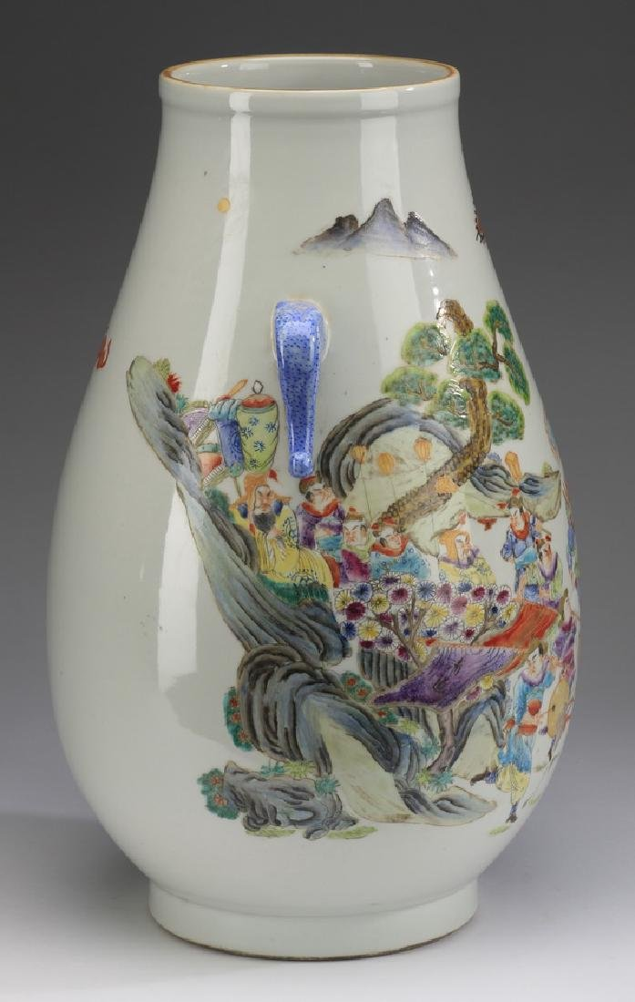 """Chinese Hu vase, with court procession, 17""""h - 4"""