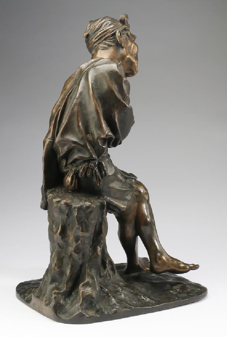 Early 20th c. Japanese bronze of a resting farmer - 3