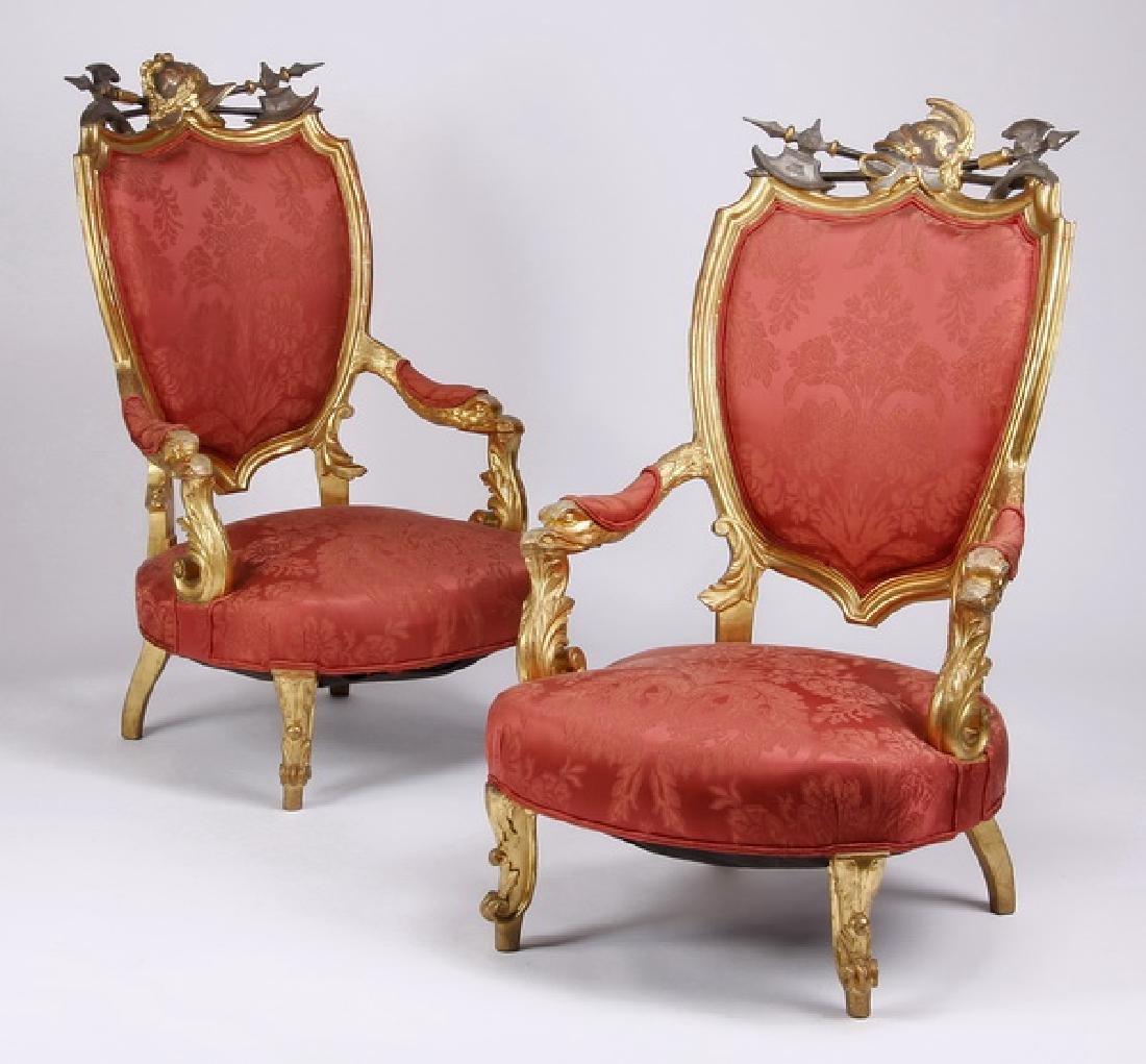 (2) 18th c. Venetian gilt wood armchairs