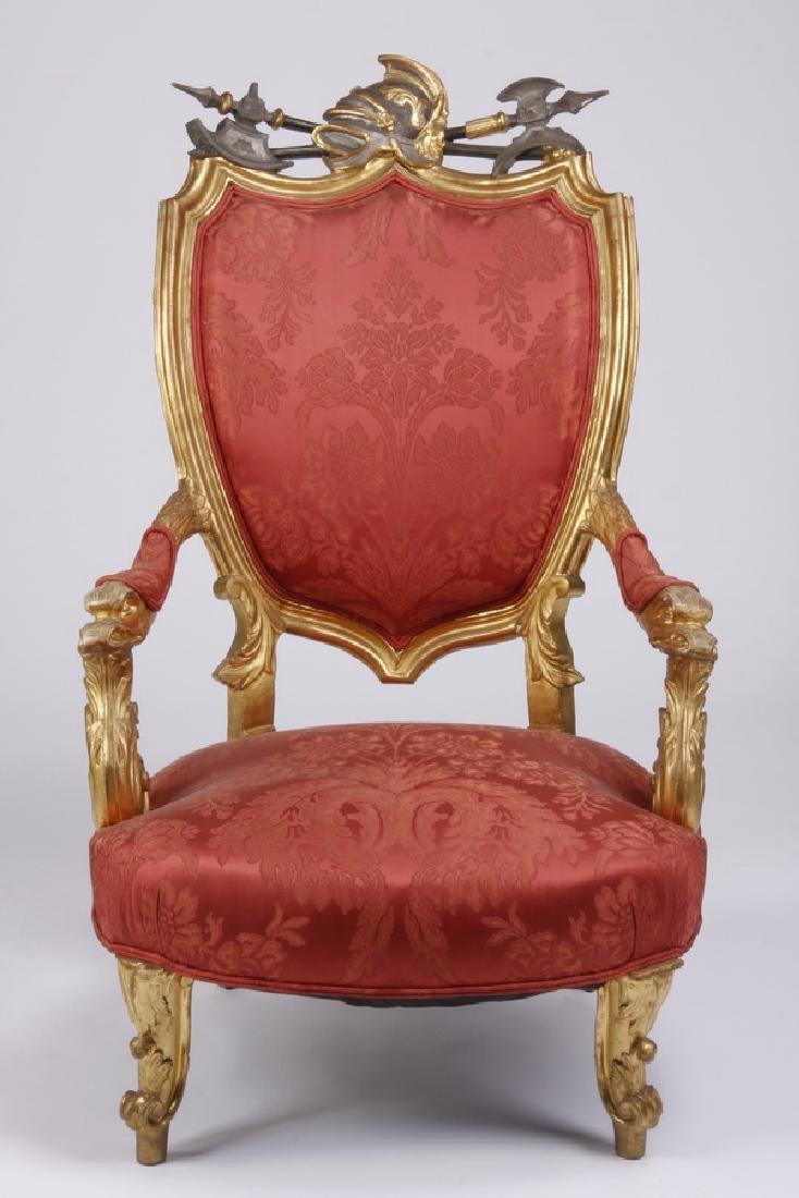 (2) 18th c. Venetian gilt wood armchairs - 2