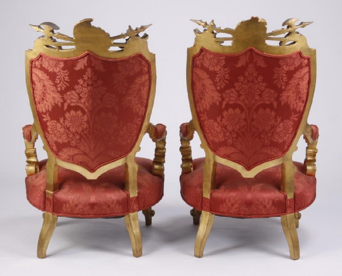 (2) 18th c. Venetian gilt wood armchairs - 7