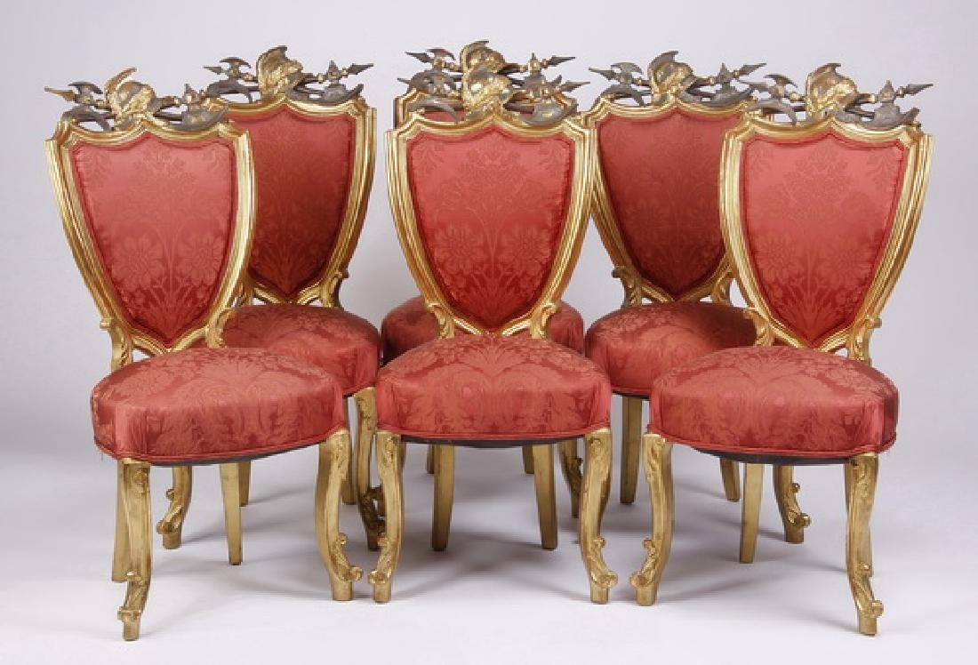 (6) 18th c. Venetian gilt wood side chairs