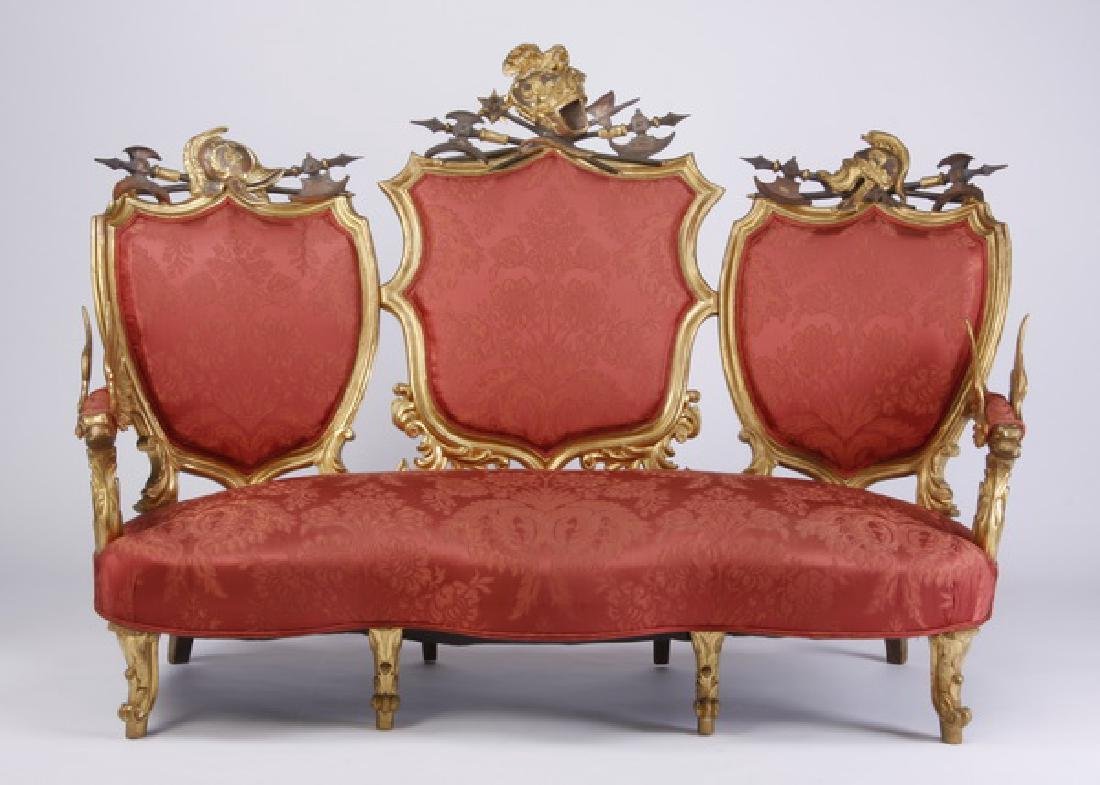 18th c. Venetian gilt wood sofa with armorial crests