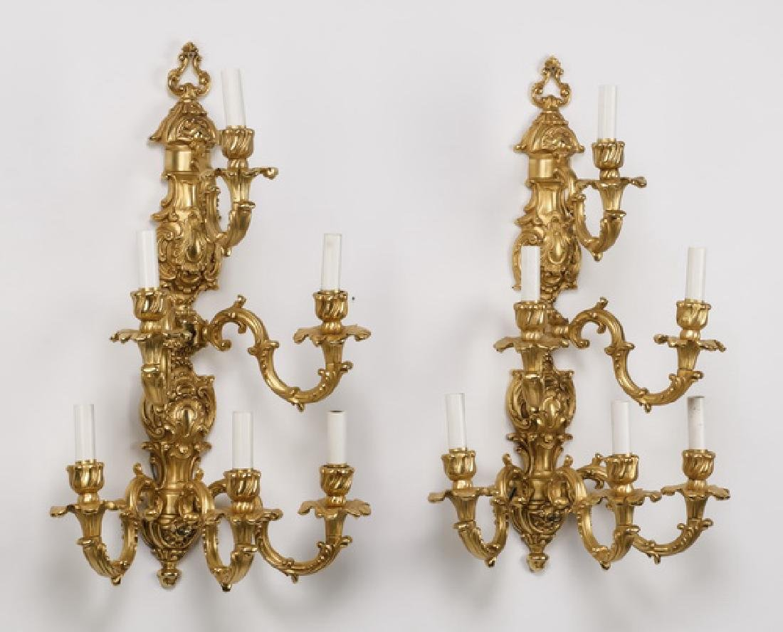 Pair of Continental Rococo style gilt bronze sconces - 2